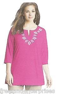 Clothing Just My Size Stud Tunic Top ~Smokin Hot Pink Color~Size 1XL~(16W)~ NWOT