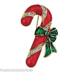 Christmas PIN Holiday Motif Pin Candy Cane Goldtone, Red & Green Enamel