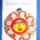 Jewelry #07 Vintage Micro Mosaic Floral Italian Pin/Brooch w/One Center Flower