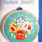 Jewelry #04 Vintage Micro Mosaic Floral Italian Pin/Brooch with Four Flowers #04