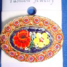 Jewelry #01 Vintage Micro Mosaic Floral Italian Pin/Brooch with Two Flowers #01