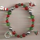Christmas BRACELET #016 Snowman etc Charms & Beaded Stretch Bracelet ~No Clasp ~