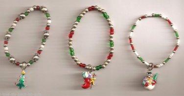 Christmas BRACELET #011 Snowman-Tree-Stock'g Beaded Stretch Charm 3 Set-No Clasp