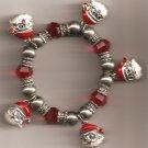 Christmas BRACELET #004 Santa & Beaded Stretch Charm Bracelet ~ No Clasp ~
