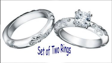 Ring Paradise Bliss 2 Piece CZ Engagement Ring & Band Set of 2 Rings Size 8