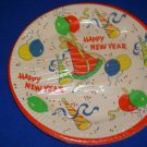 Vintage Paper Plates Happy New Year Party Plastic Coated Set of 8 NIP (U.S.A.)#A