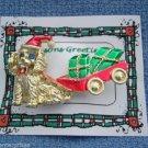 Christmas PIN #0331 VTG Beatrix Dog Pulling Wagon w/Presents Goldtone VGC Brooch