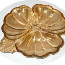 Collectible Dish Clover Shamrock Shape Glass Carnival JEANNETTE VGC Amber Color