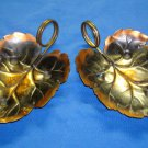 Collectible Dish Coppercraft Guild Decorative Leaf Shape Candy Brass Handle (2)