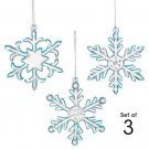 Christmas Ornament Sparkling Glass Snowflake ~Set 3~ Size Approx 2 1/2 -3 inches