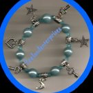 Bracelet Acrylic & Charms & Beaded Stretchie Light Blue (Quantity of TWO)