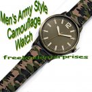 Watch Men's Army-Style Camouflage Watch ~ Fabric Band and Brasstone Case ~ NEW