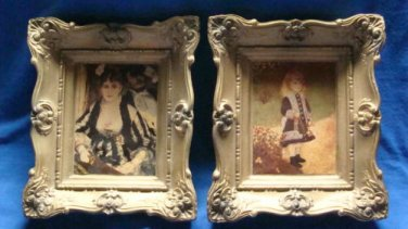 VTG Chalkware Plaques By French Auguste Renoir By Miniature Masters Inc NY-Set 2