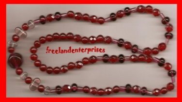 Necklace #124 Beads Two Colors Red, Pinks & Clear VTG