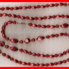 Necklace #130 Beads Red & Fuchsia Deep Colors VINTAGE