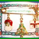 Christmas PIN #0127 Avon Safety Pin with 3 Charms Goldtone & Enamel HOLIDAY VGC