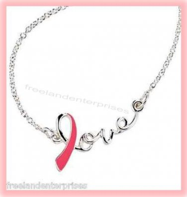 Breast Cancer Crusade Love Ribbon Necklace Silvertone & Pink NIB