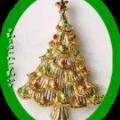Christmas PIN Avon Tree Goldtone w/ Red & Green Enamel Dots
