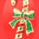 "Christmas PIN AVON Candy Cane Tac Pin Goldtone Red-Green Enamel 1 1/4"" @1986"