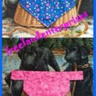Dog Reversible Neckerchief Collar Sleeve Pink and Blue Flowers