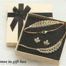 Necklace, Bracelet & Earring Sparkling Leaves Gift Set GOLDTONE ~NEW~