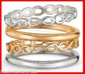 Ring Metal Twist 4-Piece Ring Set ~ Silvertone & Goldtone ~ Size 8 ~ NEW Boxed