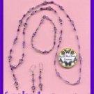 Necklace Bracelet & Earring Purple Beads Gift Set & Pouch-Purple Beads--Handmade
