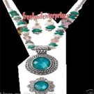 Necklace Earring & Ring Bold Faceted Medallion Turquoise 3 Piece/Unit Gift Set