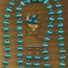 Necklace Earring & Pin Handmade Spun Beads Set Turquoise ~Neck-Approx 31 inches