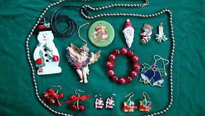 Christmas LOT: Pins, Earrings, Necklaces, Bracelet & Ornaments Lot