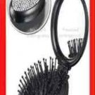 Hair SHIMMERING COMPACT TRAVEL BRUSH folding with Mirror & RHINESTONES ~BLACK~