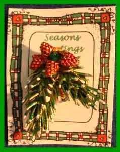 Christmas PIN #0096 VTG Pine Bough & PineCone Goldtone wGreen Rhinestone HOLIDAY