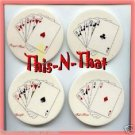Coasters Poker Hands Round Ceramic Set of 4 Coasters ~ Excellent Condition ~
