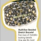 Bracelet Multi Row Beaded Stretch 5 Rows of Beads NEW in Box
