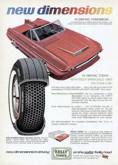1965 Kelly Tire Print Ad-Futuristic Car Red Convertible