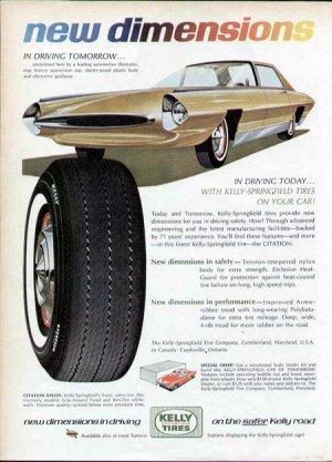 1965 Kelly Tire Print Ad-Futuristic Car Plastic Body Guidance