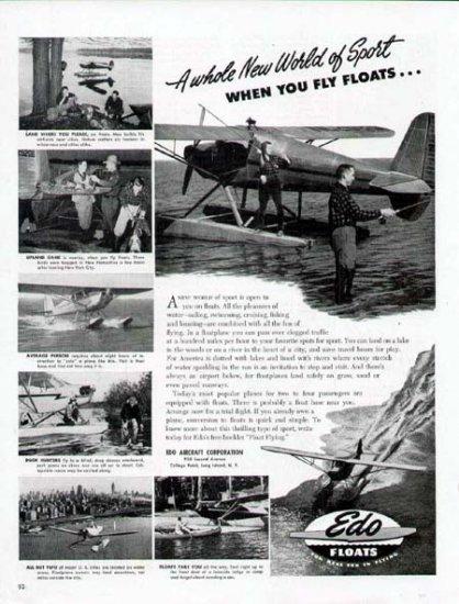 1947 Edo Float Aircraft Print Ad-Sport Fishing Airplane