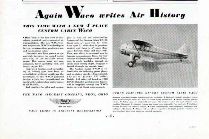 1935 Waco Aircraft Vintage Print Ad-Troy Ohio Airplane