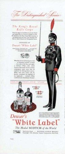 1941 Dewars Scotch Print Ad-Kings Royal Rifle Corps Uniform