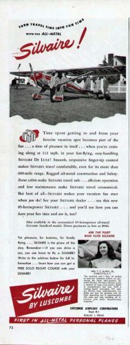 1947 Luscombe Airplane Print Ad-Silvaire Model Aircraft