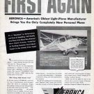 1946 Aeronca Aircraft Print Ad-Light Airplane Champion Chief