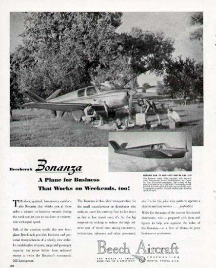 1946 Beech Aircraft Print Ad-Bonanza Model Airplane