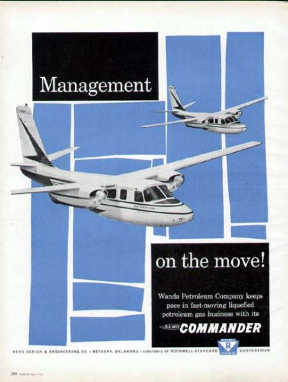 1960 Aero Commander Aircraft Print Ad-Wanda Petroleum Co