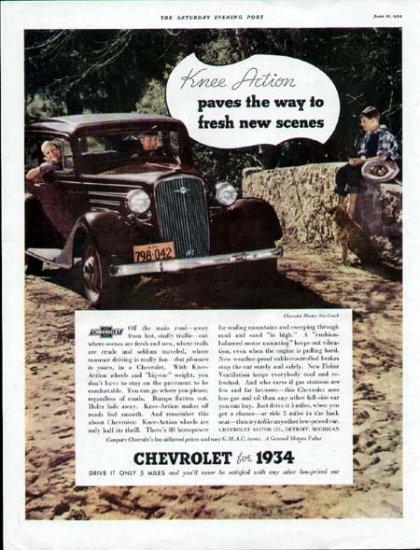 1934 Chevrolet Car Vintage Print Ad-Master Six Coach Color