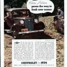 1934 Chevrolet Car Vintage Print Ad-Master Six Coach Color