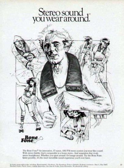 1980 bone fone stereo speaker print ad