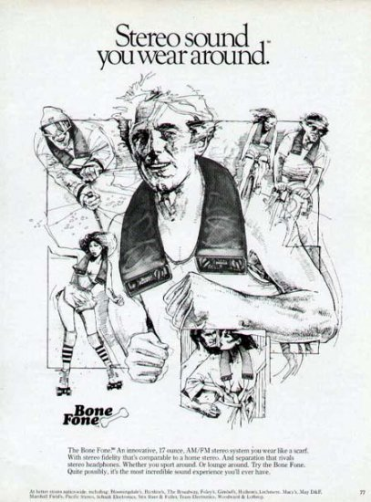 1980 Bone Fone Stereo Speaker Print Ad-Wear Around Neck