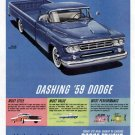 1959 Dodge Truck Vintage Print Ad-Blue & Dashing