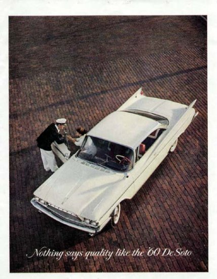 1960 De Soto Vintage Car Print Ad-White Color
