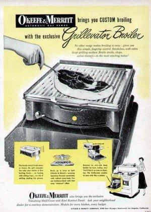 1952 O'Keefee & Merritt Cook Stove Range Print Ad-Grillerator